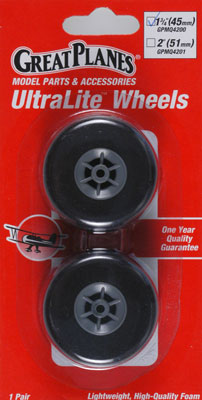 "Great Planes UltraLite Wheels 1-3/4"" 45mm (2)"
